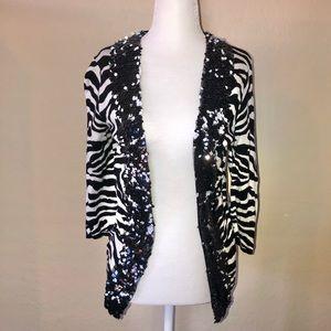 Cache zebra print sequined cardigan